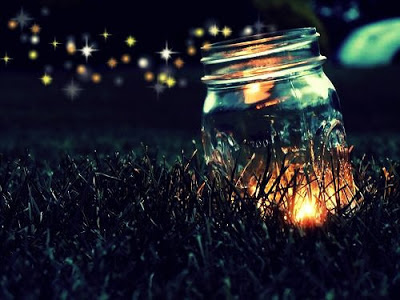 fireflies, jar, night, firefly