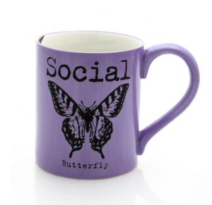 mug, social butterfly, writing