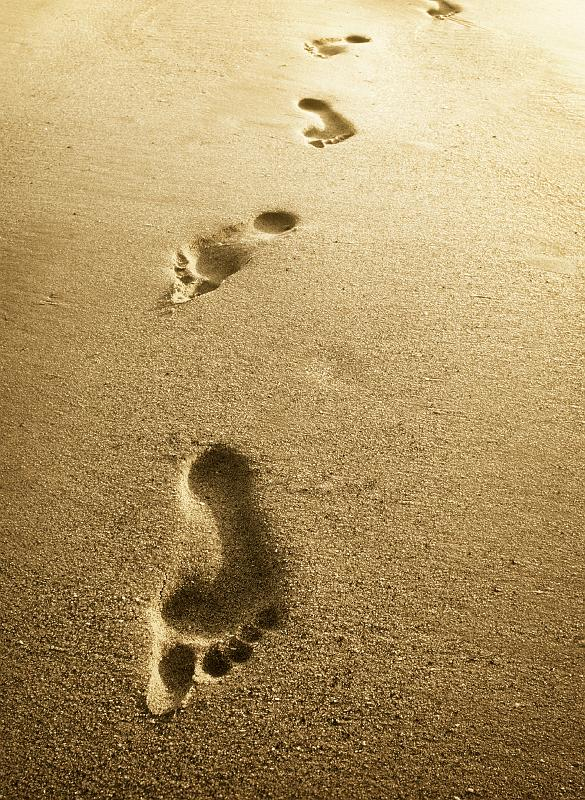sand, footprints, walk
