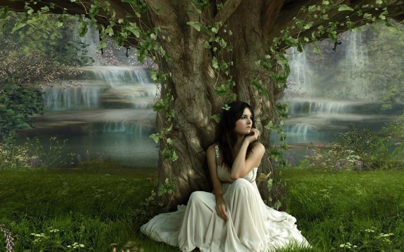 woman, tree, waterfall, whitedress