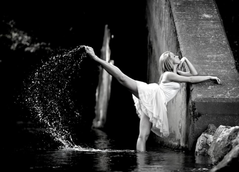 water dance, woman, dancing, wet, dress, white dress, splash, confident