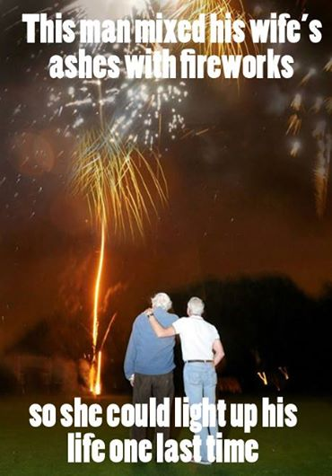 fireworks, death, grief, celebration, love, couple